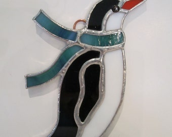 Penguin Stained Glass Ornament