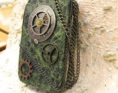 Steam Punk Altered Tin Credit Card Case, Embellished Made To Order