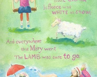 Sale, Mary Had Little Lamb, Nursery Rhyme, Sheep, Nursery Art, Children's Art , Modern Version, Print, Free Matte