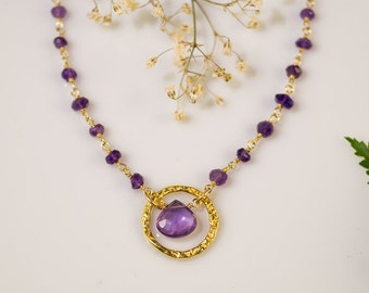 Purple Amethyst Necklace - Wire wrapped Amethyst Necklace - February Birthstone Necklace- Gold Necklace - Gifts for Women