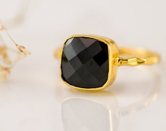 Black Onyx Ring Gold - Black Stone Ring - Cushion Ring - Solitaire Ring - Stacking Ring - Gold Ring - Gift for Mom