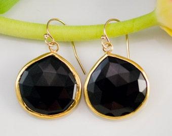 Black Onyx Earrings, Drop Earrings Gold, Gold Framed Stone, Statement Earrings, Gift for Mom, Black Stone Earrings, Simple Stone Earrings