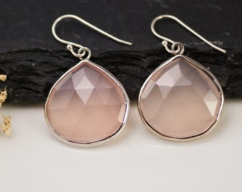 Pink Quartz drop earrings - Sterling Silver  earrings - bezel set earrings - Gemstone earrings