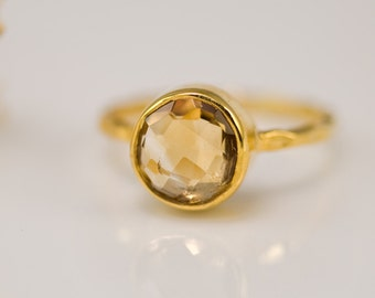 Yellow Citrine Ring Gold - November Birthstone Ring - Solitaire Ring - Stacking Ring - Gold Ring - Round Ring - Stackable Stone Ring