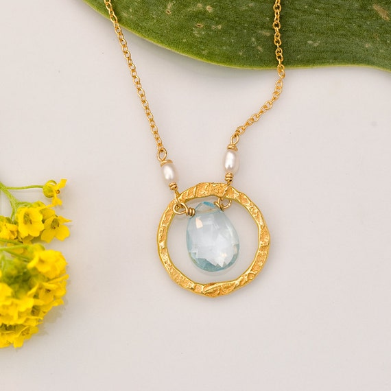 December Birthstone necklace Blue Topaz Necklace 22k Gold