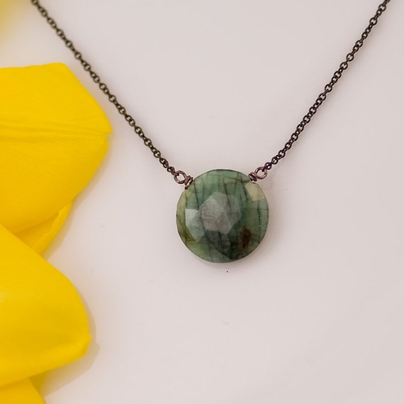 Raw Emerald necklace - Oxidized Silver Necklace - Gemstone necklace  - May Birthstone necklace - Solitair Necklace - Round Emerald Pendant