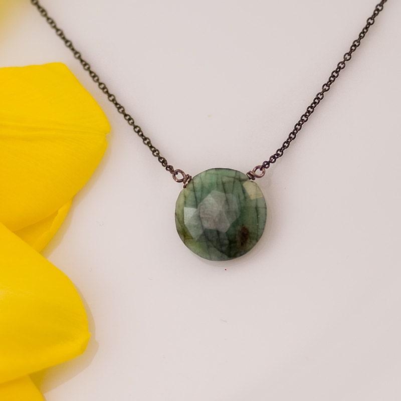 Raw Emerald necklace Oxidized Silver Necklace Gemstone - photo#21