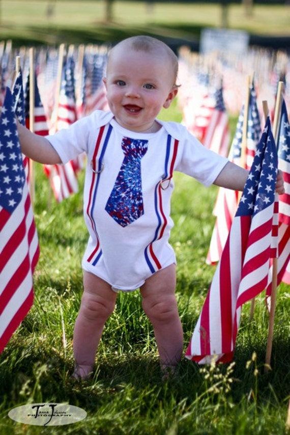 Fourth of July Patriotic Red, White and Blue Tie & Suspenders Onesie - Ready to Ship 12-18M
