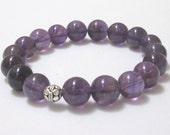 Amethyst Bracelet, Chakra Mala Bracelet Worry Beads, February Birthstone, Bali Sterling Silver, Healing Bracelet, Crown Chakra Jewelry