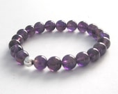 Purple Amethyst Mala Beads Birthstone Bracelet February Birthday Anniversary Valentines Gifts for Her Under 30 Crown Chakra Healing Crystals