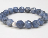 Blue Sodalite Beaded Bracelet, Mala Beads Bracelet, Best Gift ideas, Worry Beads Bracelet, Brow Chakra stones, Stretch Balance Yoga Bracelet