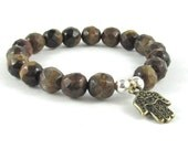 Men Beaded Bracelet, Tigers Eye Bracelet Evil Eye Hamsa Yoga Bracelet, Men Mala Beads Zen Chakra Bracelet Buddhist Worry Beads, Gift for him