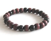 Men Bracelet Wood Beads Black Onyx Mala Bracelet, Men Jewelry Worry Beads, Buddhist Beads Prayer Beads, Meditation Beads Protection Bracelet