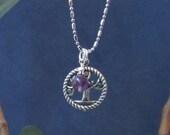 Amethyst Charm Tree Of Life Pendant Chakra Necklace February Purple Birthstone Gemstone Sterling Silver Dangle Aquarius Protection Chakra