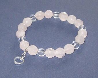 Fertility Bracelet Quartz Crystal Rose Quartz Pregnancy Jewelry Romantic Gifts for Daughter Girlfriend Wife Fiance Mala Bracelet Heart Charm