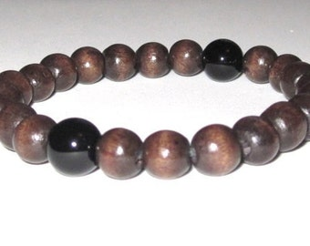 Obsidian Men's Bracelet, Men Wood Bracelet Worry Beads, Chakra Healing Energy Stones Worry Beads, Gifts for Him Under 30 Son Father, Brother