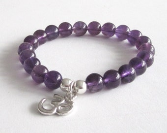 Amethyst Beaded Bracelet, Buddhist Om Charm, Yoga Chakra Mala Beads Healing Crystals, Prayer Worry Beads Inspiring Jewelry Yoga Gift for Mom