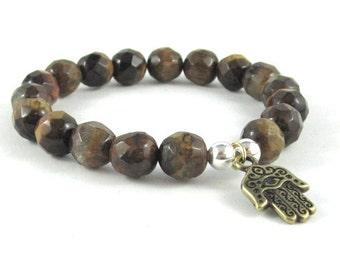 Mens Beaded Bracelet, Protection Meaningful Inspirational Jewelry, Tigers Eye, Evil Eye Hamsa Hand Yoga Worry Beads Buddhist Chakra Bracelet