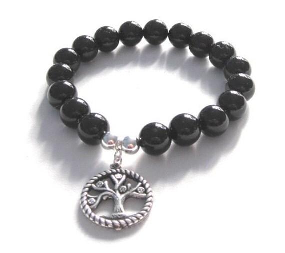 Tree of Life Chakra Beaded Bracelet Black Onyx Stones Mala Beads Women Men Inspirational Jewelry Stretch Bracelet Meaningful Inspiring Gift