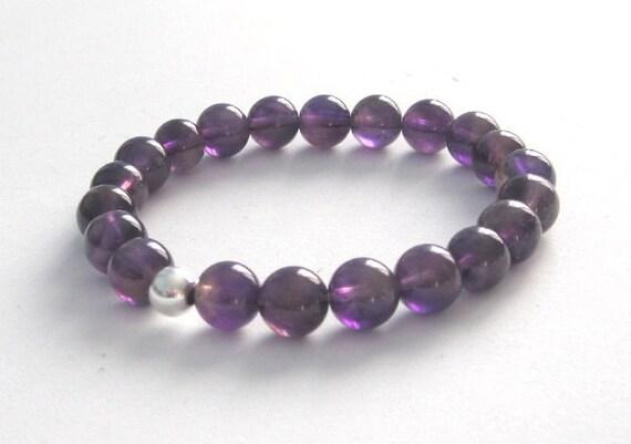 Amethyst Mala Beads Bracelet, Yoga Beaded Bracelet Mom Gift for Her Crown Chakra Stones Bracelet Balance February Birthstone Jewelry Natural