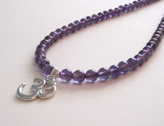 Amethyst Necklace, February birthstones, Om Pendant Necklace, Yoga Jewelry Chakra Necklace, Gift for mother of the bride, Trending Stones