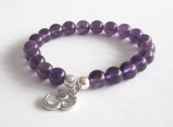 Purple Amethyst Beaded Bracelet Buddhist Om Charm Yoga Chakra Bracelet Mala Beads Healing Crystals Prayer Worry Beads Inspiring Jewelry Mom