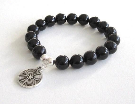 Labyrinth Charm Bracelet Mala Beads Beaded Bracelet, Black Onyx Chakra Bracelet, Worry Beads Bracelet Inspirational Jewelry Gift for Grads