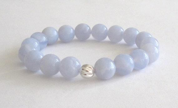 Blue Lace Agates Beaded Bracelet, Summer Jewelry Gift for her, Mala Beads Bracelet Healing, Calming Throat Chakra Balance Beaded Bracelet