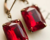 Valentine's Day Earrings for Her Gift Idea Vintage Earrings Estate Style Dangle Earrings Red Earrings - Ruby Red - Gift for her