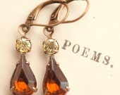 Amber Earrings, Brown Earrings, Topaz Estate Style Earrings, Vintage Swarovski, Bridesmaid Earrings Woodland Wedding Dangle Drop Earrings