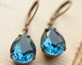 Monaco Blue Pear Dangle Earrings, Blue Wedding Jewelry, Bridesmaid Earrings, Blue Wedding Earrings, Something Blue, Gift under 30