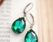 Emerald Green Earrings Swarovski Crystal Earrings Emerald Green Pear Tear Drop Dangle Earrings