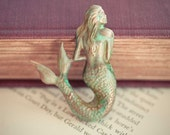 Mermaid Brooch Verdigris Mermaid Summer Sun Ocean Beach Fairytale Nautical Statement Jewelry