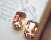 Peach Earrings, Silver Earrings, Vintage Earrings, Wedding Jewelry, Bridal Earrings, Estate Style Swarovski Crystal Dangle - Sweet Peach