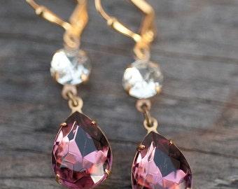 Purple Earrings, Bridal Jewelry, Dangle Earrings, Bridesmaid Earrings, Drop earrings, Chandelier Earrings