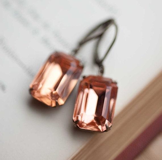 Peach Wedding Bridal Earrings Vintage Drop Earrings Upcycled Jewelry Bridesmaid Gift Earrings Peach Jewelry