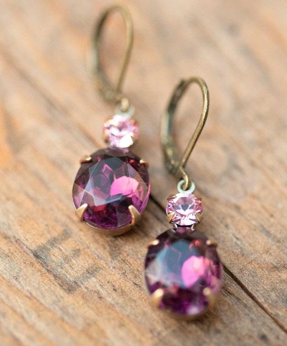 Vintage Earrings, Violet Earrings, Swarovski Crystal Bridesmaids Jewelry Wedding Jewelry Drop Earrings Bridesmaids Gift Amethyst Jewelry
