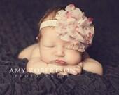 Baby Headband-  Ivory Flower Headband- Girl Headband- Newborn Headband- Infant Headband