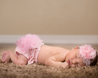 Infant Flower Headband-Pink Chiffon and Tulle Ruffled Flower on Soft Pale Pink Elastic Headband
