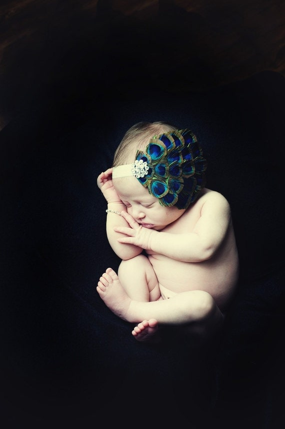 Baby Headbands-Peacock Feathers on Soft Champagne Elastic Headband