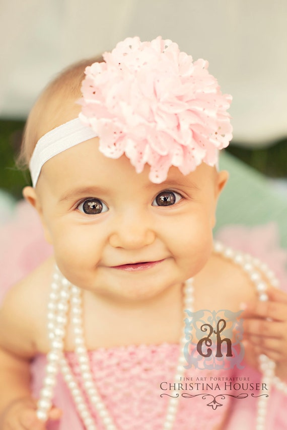 Baby Headband- Flower Headband-Baby Girl Headband- Light Pink Satin Eyelet Flower on Soft White Elastic Headband