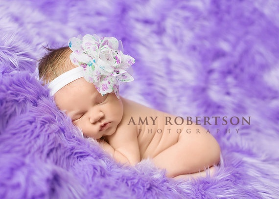 Baby Headband-  White Floral Print Flower on Soft White Elastic Headband