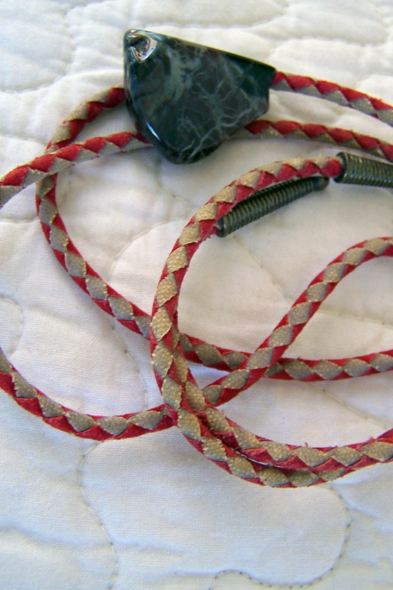 "Vintage 60's ""BOLO TIE"" Gray Marbleized Stone in Diamond Pattern Red and Tan Braided Leatherette  Cord"