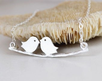 Two Love Birds Swinging on a Branch,  Sterling Silver Chain, Gift for her, Gift Under 25