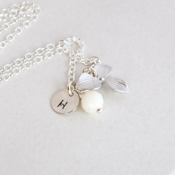 Reserved for Suzanne Fenech: Flower Girl Necklace, Personalized Charm, Pink Coral, Petite Silver Orchid Flower Pendant
