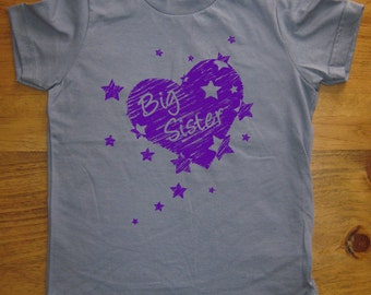 Big Sister Shirt - 7 Colors Available - Kids T shirt Sizes 2T, 4T, 6, 8, 10, 12 - Gift Friendly