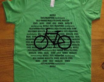 Kids Bike Shirt / Bicycle Shirt - International Languages - 7 Colors Available - Kids Tshirt Sizes 2T, 4T, 6, 8, 10, 12 - Gift Friendly