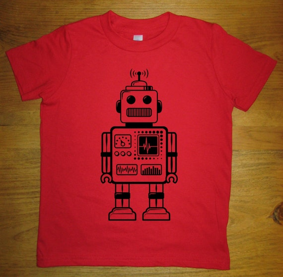 Robot Shirt - Retro Robot Kids T Shirt - 8 Colors - Sizes 2T, 4T, 6, 8, 10, 12 - Gift Friendly - Great Present for Science Kid