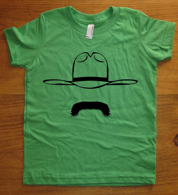 Mustache Shirt Cowboy - 8 Colors Available - Kids T shirt Sizes 2T, 4T, 6, 8, 10, 12 - Gift Friendly