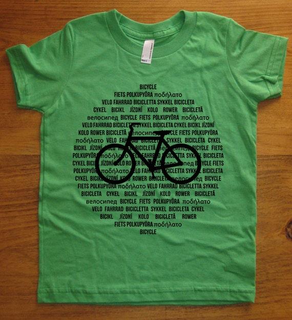 Kids Bike Shirt / Bicycle Shirt - International Languages - 7 Colors Available - Kids Tshirt Sizes 2T, 4T, 6, 8, 10, 12 - Gift Friendly